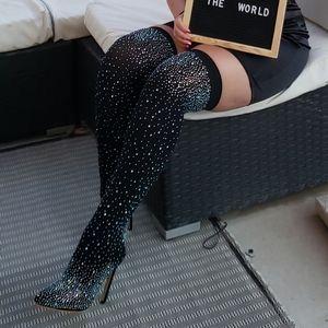 Thigh high Rhinestone stocking heels